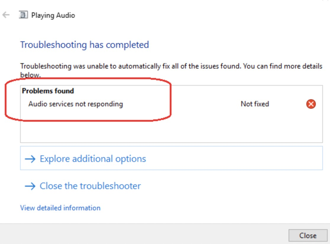 Run Troubleshooter Windows 10 Playing Audio